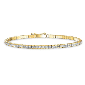 4 carat Princess cut Diamond Tennis Bracelet in Channel Set in Yellow Gold