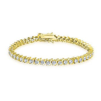1 Carat Round cut Diamond S Shape Link Tennis Bracelet for Women in Yellow Gold