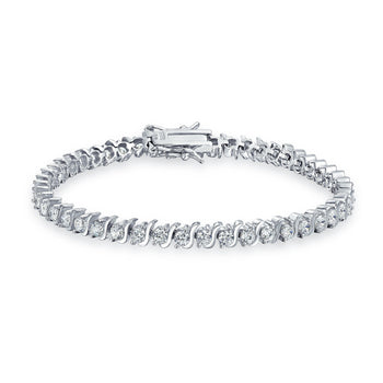 1 Carat Round cut Diamond S Shape Link Tennis Bracelet for Women in White Gold