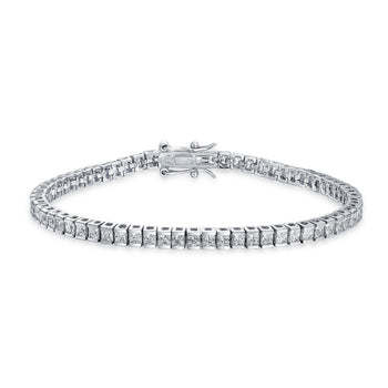 3 Carat Princess cut Diamond Link Tennis Bracelet for Women in White Gold