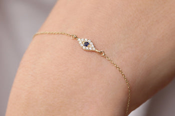 .25 Carat Round cut Sapphire and Diamond Evil Eye Bracelet for Women in Gold