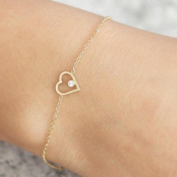 Heart Shape .10 Carat Round cut Diamond Bracelet for Women in Gold