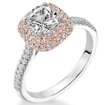 1 Carat Cushion Cut Real Diamond Double Halo Engagement Ring in 10k White Gold