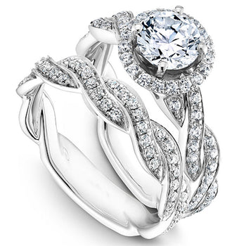 Infinity 1 Carat Round Cut Real Diamond Halo Bridal Set in 10k White Gold