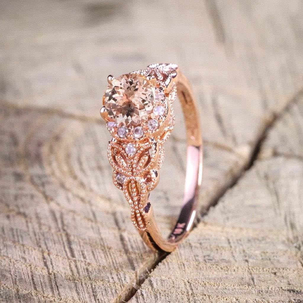Engagement Rings On Sale Newcastle: Limited Time Sale 1.25 Carat Peach Pink Morganite (Round
