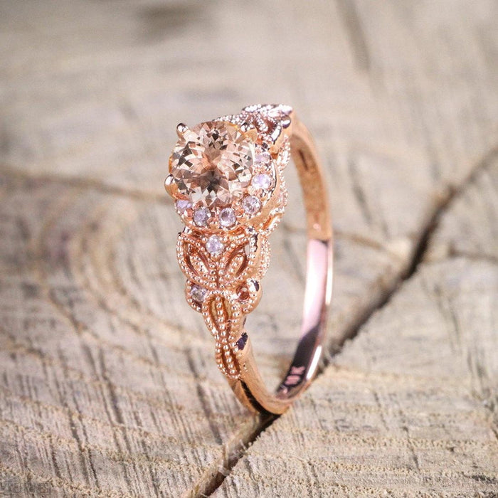 Limited Time Sale 1.25 Carat Peach Pink Morganite (Round Shaped Morganite) and Diamond Engagement Ring