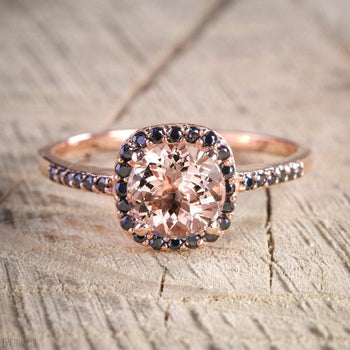 Limited Time Sale 1.50 Carat Peach Pink Morganite (Round cut Morganite) Black Diamond Engagement Ring