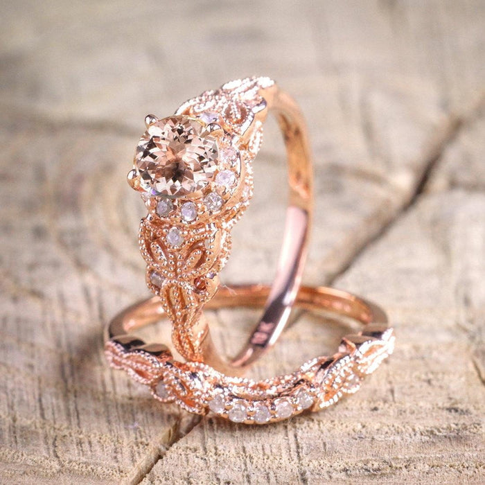 Limited Time Sale 1.50 Carat Round Cut Morganite And Diamond Halo Bridal Wedding  Ring Set In