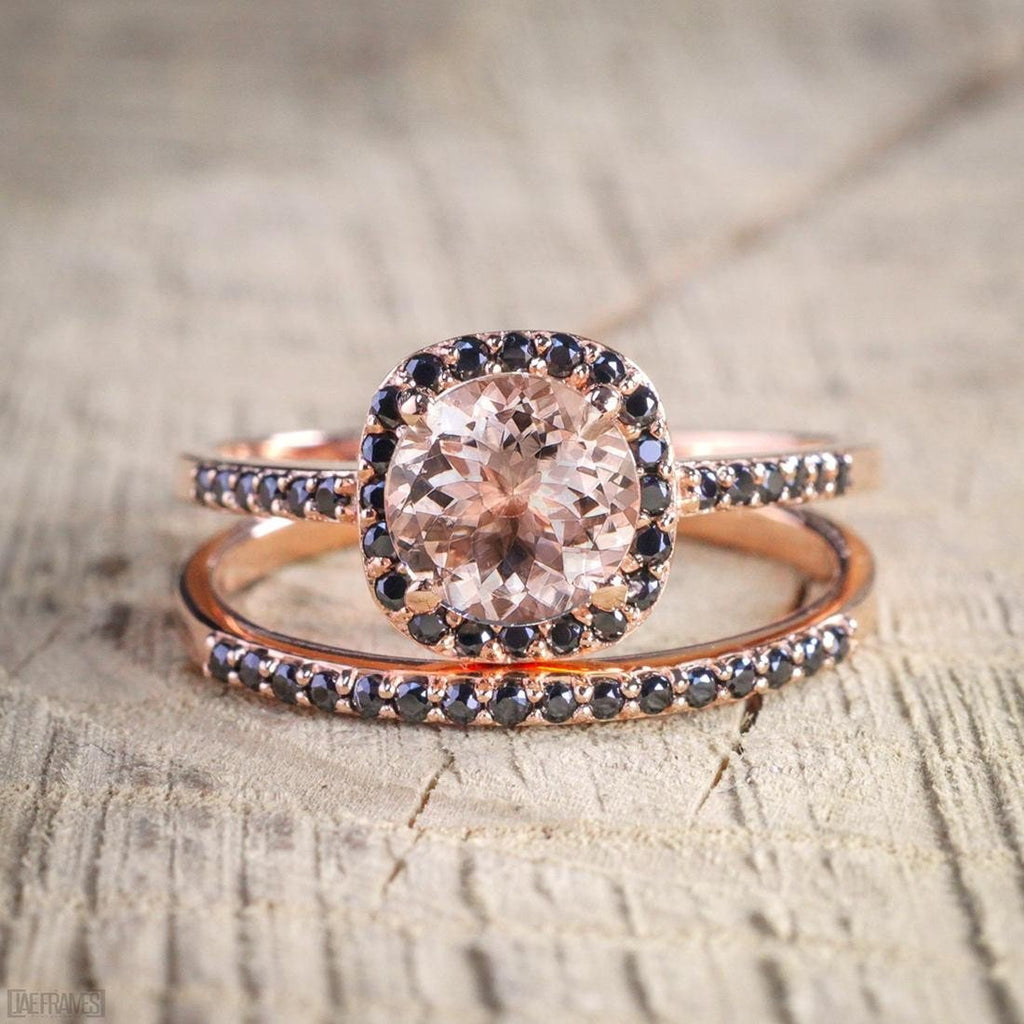 Engagement Rings Sale Rose Gold: Limited Time Sale 2 Carat Peach Pink Morganite (Round Cut