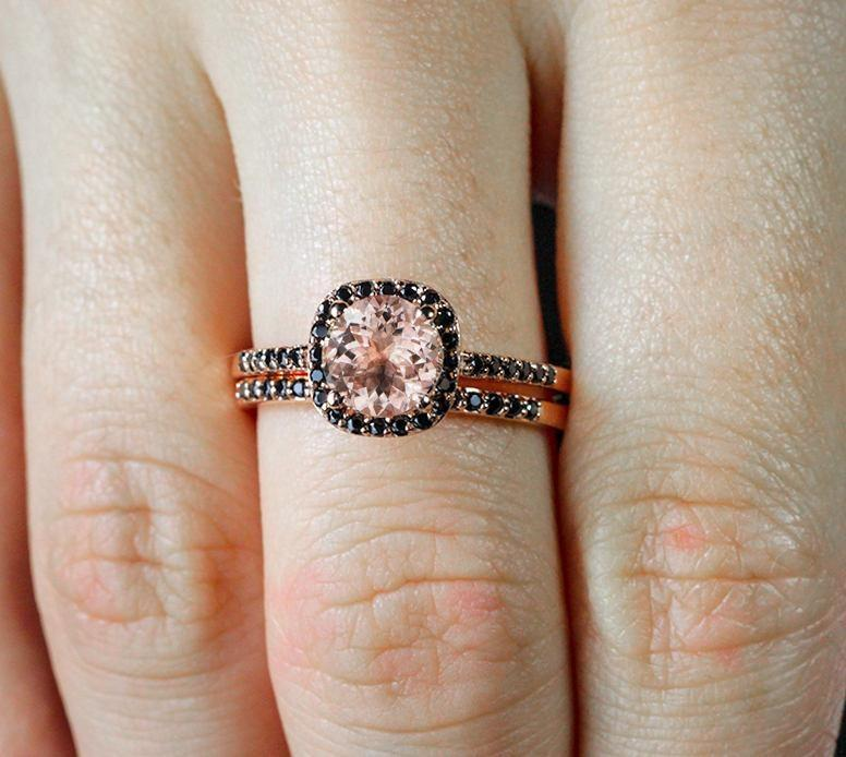 Limited Time Sale 2 Carat Peach Pink Morganite (Round cut) and Black Diamond Engagement Bridal Wedding Ring Set in 10k Rose Gold