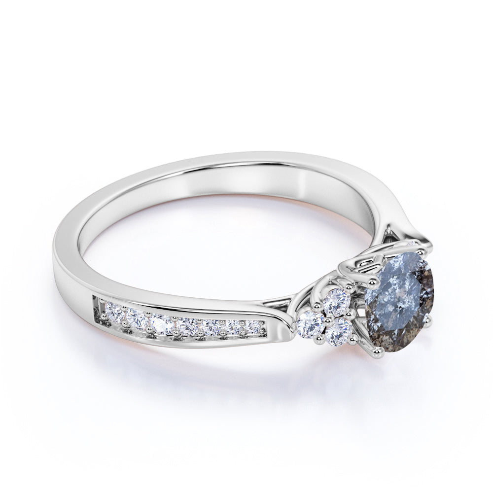 1.25 Carat Round Cut Real Salt and Pepper Diamond Trellis Engagement Ring in White Gold