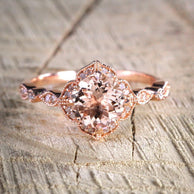 Sale Antique Design 1.25 Carat Peach Pink Morganite (Round Shaped) and Diamond Engagement Ring