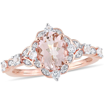 2 Carat Morganite and Moissanite Vintage Art Deco Halo Engagement Ring On 18K Rose Gold Over Sterling Silver
