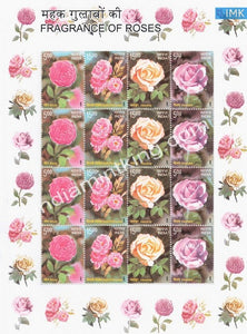 India MNH 2007 Fragrance Of Roses Sheetlet - buy online Indian stamps philately - myindiamint.com