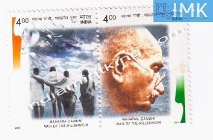 India MNH 2001 Mahatma Gandhi Man Of The Millennium  Setenant - buy online Indian stamps philately - myindiamint.com