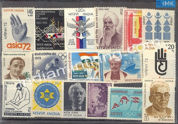 MNH India Complete Year Pack - 1972 - buy online Indian stamps philately - myindiamint.com