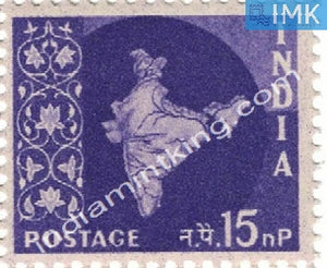 India MNH Definitive 3rd Series Map Wmk Ashokan 15np - buy online Indian stamps philately - myindiamint.com