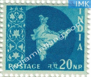 India MNH Definitive 3rd Series Map Wmk Ashokan 20np - buy online Indian stamps philately - myindiamint.com