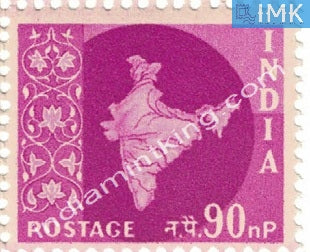 India MNH Definitive 3rd Series Map Wmk Ashokan 90np - buy online Indian stamps philately - myindiamint.com