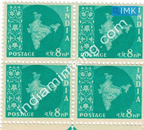 India MNH Definitive 3rd Series Map Wmk Ashokan 8np (Block B/L 4) - buy online Indian stamps philately - myindiamint.com