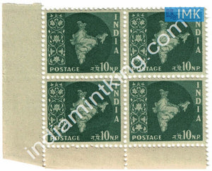 India MNH Definitive 3rd Series Map Wmk Ashokan 10np (Block B/L 4) - buy online Indian stamps philately - myindiamint.com