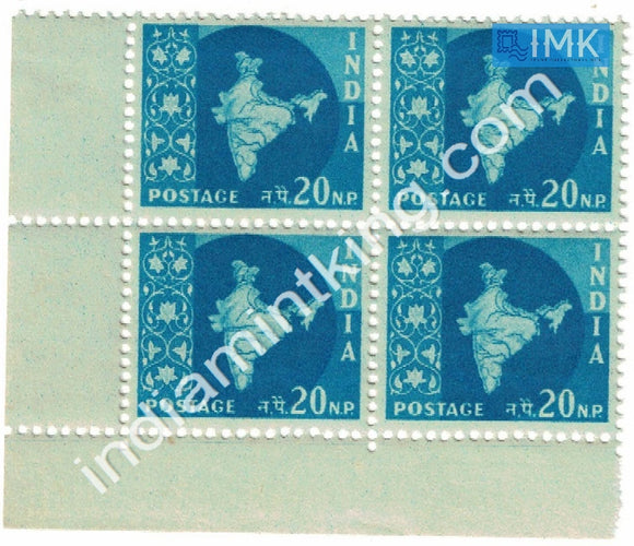 India MNH Definitive 3rd Series Map Wmk Ashokan 20np (Block B/L 4) - buy online Indian stamps philately - myindiamint.com