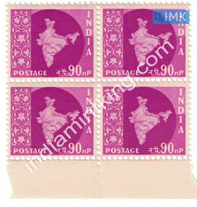 India MNH Definitive 3rd Series Map Wmk Ashokan 90np (Block B/L 4) - buy online Indian stamps philately - myindiamint.com