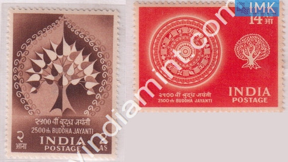 India 1956 MNH Buddha Jayanti Set Of 2v - buy online Indian stamps philately - myindiamint.com
