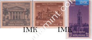 India 1957 MNH Centenary Of Indian Universities Set Of 3v - buy online Indian stamps philately - myindiamint.com