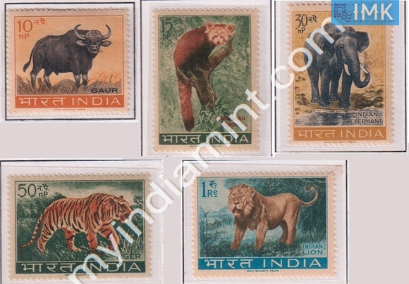 India 1963 MNH Wild Life Preservation Set Of 5v (Tiger, Lion, Ox, Elephant, Panda) - buy online Indian stamps philately - myindiamint.com