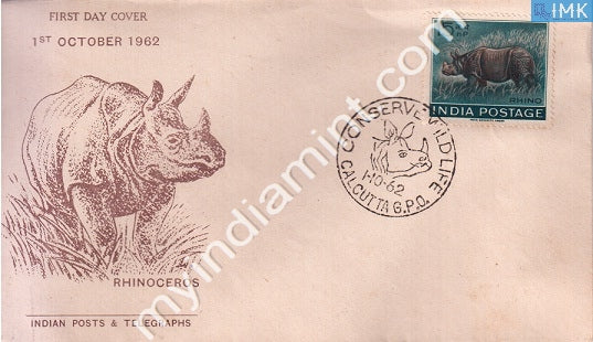 India 1962 FDC Wildlife Week Indian Rhinoceros (FDC) - buy online Indian stamps philately - myindiamint.com