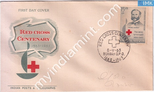 India 1963 FDC Henry Dunant Red Cross Centenary (FDC) - buy online Indian stamps philately - myindiamint.com