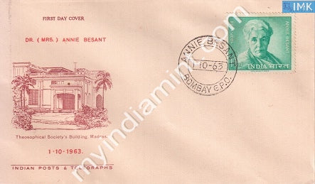 India 1963 FDC Annie Besant (FDC) - buy online Indian stamps philately - myindiamint.com