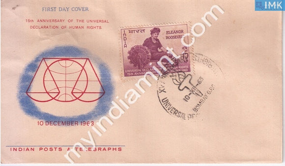 India 1963 FDC Declaration Of Human Rights Elenor Roosevelt (FDC) - buy online Indian stamps philately - myindiamint.com