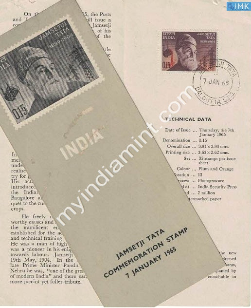 India 1965 Jamsetji Nusserwanji Tata (Cancelled Brochure) - buy online Indian stamps philately - myindiamint.com