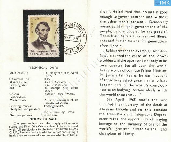 India 1965 Abrahim Lincoln (Cancelled Brochure) - buy online Indian stamps philately - myindiamint.com