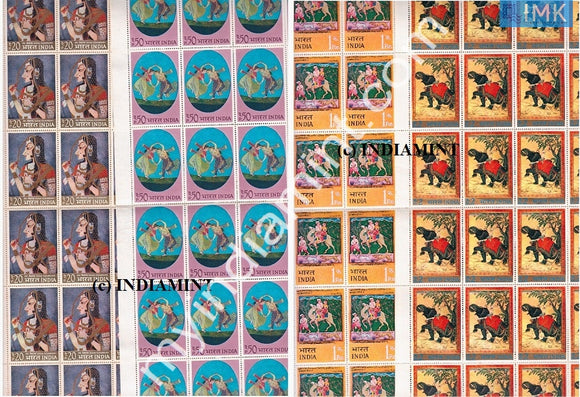 India 1973 MNH Indian Miniature Paintings 4V Set (Full Sheets) - buy online Indian stamps philately - myindiamint.com