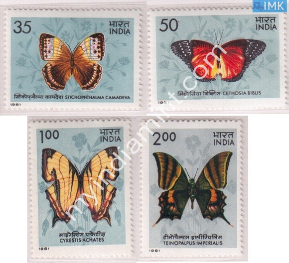 India 1981 MNH Indian Butterflies Set Of 4v - buy online Indian stamps philately - myindiamint.com