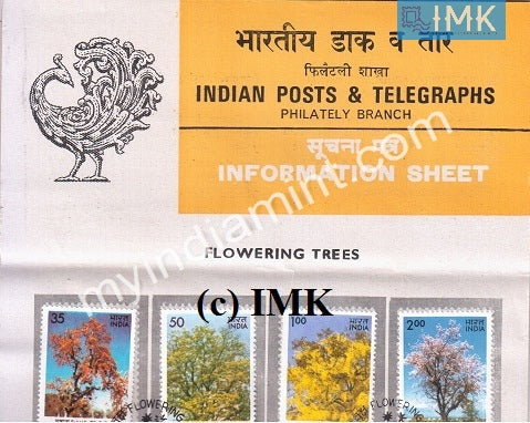 India 1981 Indian Flowering Trees Set Of 4v (Cancelled Brochure) - buy online Indian stamps philately - myindiamint.com
