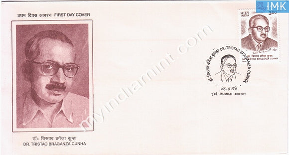 India 1998 Dr. Tristao Braganza Cunha (FDC) - buy online Indian stamps philately - myindiamint.com