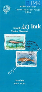 India 1991 Endangered Marine Mammals Set Of 2v (Cancelled Brochure) - buy online Indian stamps philately - myindiamint.com