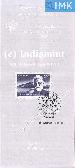 India 1998 Sri Ramana Maharshi (Cancelled Brochure) - buy online Indian stamps philately - myindiamint.com