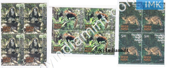 India 2009 MNH Rare Fauna of North East Set of 3v (Block B/L 4) - buy online Indian stamps philately - myindiamint.com