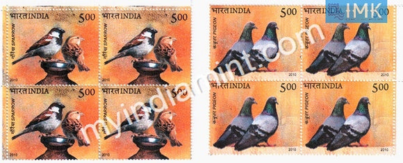 India 2010 MNH Pigeon & Sparrow Set Of 2v (Block B/L of 4) - buy online Indian stamps philately - myindiamint.com