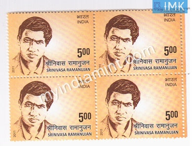 India 2011 MNH Srinivasa Ramanujan (Block B/L of 4) - buy online Indian stamps philately - myindiamint.com