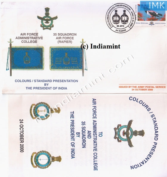India 2000 Army Cover 35 Air Squadron Colors Standard Presentation by President #A3 - buy online Indian stamps philately - myindiamint.com
