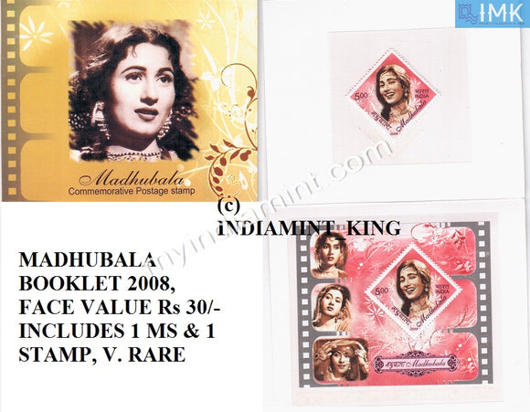 India 2008 Madhubala Booklet Containing 1 MS & 1 Stamp #B1