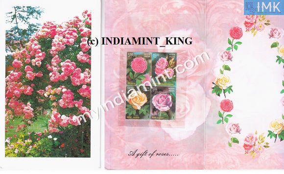 India 2007 Roses Booklet Variety 1 Contains Block #B1