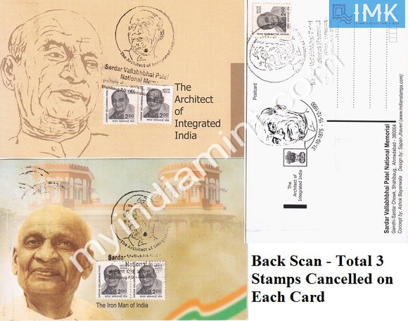 India 2005 Maxim Card Set of 2 on Sardar Patel Architect of Integrated India #M1
