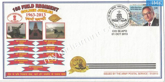 India 2013 Army Covers #A5 165 Field Regiment Golden Jubilee
